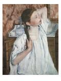 Girl Arranging Her Hair Art by Mary Cassatt