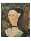 Woman with Velvet Ribbon (The Black Border) Prints by Amedeo Modigliani