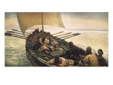 Stenka Razin Sailing in the Caspian Sea Giclee Print by Vasilii Ivanovich Surikov