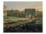View of the Colosseum with the Arch of Constantine Art