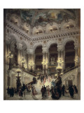 The Stairway of the Opera, Paris Premium Giclee Print by Jean Béraud