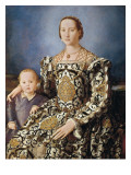 Portrait of Eleonora Di Toledo with Her Son Giovanni Giclee Print by Agnolo Bronzino