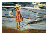 Children on the Beach Plakat av Joaquín Sorolla y Bastida