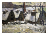 Breton Village in Snow Prints by Paul Gauguin