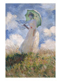 Woman with Parasol Turned to the Left Print van Claude Monet