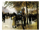 The Boulevards, Evening in Front of the Cafe Napolitain Giclee Print by Jean Beraud