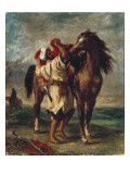 Arab Saddling His Horse Reproduction procédé giclée par Eugene Delacroix