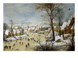 Winter Landscape with a Bird-Trap Poster by Pieter Brueghel the Younger