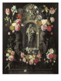 Floral Wreath with Madonna and Child Giclee Print by Jan Philip Van Thielen