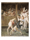 Pulcinella and the Tumblers Giclee Print by Giandomenico Tiepolo