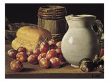 Still Life with Plums, Black Figs and Bread Premium Giclee Print by Luís Meléndez O Menéndez