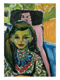 Fränzi in Front of Carved Chair Giclee Print by Ernst Ludwig Kirchner