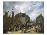 The Embarkation of the Animals at the Port of Honfleur Prints by Anne-Xavier Leprince