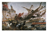 Naval Battle of Lepanto Giclee Print by Juan Luna Y Novicio