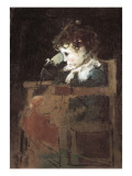 Child Seated on a Chair Giclee Print by Ignacio Pinazo Camarlech