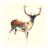 Deer Wearing Gym Socks Print by Charmaine Olivia