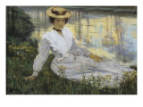 Young Girl at the Water&#39;s Edge Giclee Print by Auguste Oleffe