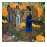 Three Tahitian Women Against a Yellow Background Prints by Paul Gauguin