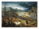 The Return of the Herd Premium Giclee Print by Pieter Bruegel the Elder