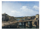 View of an Old Bridge over the River Po, Turin Giclee Print by Bernardo Bellotto