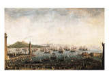 The Embarkation of Charles III in the Port of Naples Giclee Print by Antonio Joli