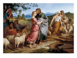 Jacob Encountering Rachel with Her Father's Herds Premium Giclee Print by Josef von Fuhrich