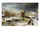 Winter Scene with Ice Skaters and Birds Giclee Print by Pieter Brueghel the Younger
