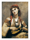Gypsy with a Mandolin Poster by Jean-Baptiste-Camille Corot
