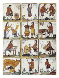 Catalan Glazed Tile Depicting Jobs (17th-18th C) Print