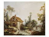 Landscape with a Watermill Posters by Francois Boucher