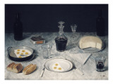 Still Life with Eggs, Bread, Cheese and Wine Giclee Print by Agostino Jose Da Mota