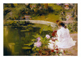 Figure by the Pond Poster by Arcadi Mas y Fondevila