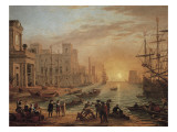 Claude Lorrain - Seaport at Sunset - Reprodüksiyon