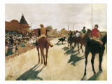 The Parade, or Race Horses in Front of the Stands Premium Giclee Print by Edgar Degas