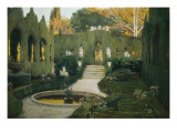 Gardens of Aranjuez Lmina gicle por Santiago Rusinol