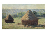 The Haystacks, or the End of the Summer, at Giverny Reproduction procédé giclée par Claude Monet