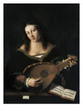 Lady Playing Lute Giclee Print by Bartolomeo Vento