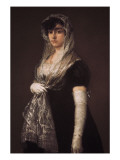 Young Lady Wearing a Mantilla and Basquina Premium Giclee Print by Francisco de Goya