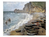 Etretat, Beach and the Porte D'Amont Premium Giclee Print by Claude Monet