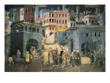 Allegory of the Good Government: Effects of Good Government on the City Life Giclee Print by Ambrogio Lorenzetti