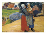 Two Breton Women on the Road Posters by Paul Gauguin