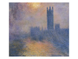 The Houses of Parliament, London, with the Sun Breaking Through the Fog Art by Claude Monet