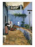 The Blue Courtyard Print by Santiago Rusinol
