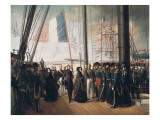 Queen Victoria Visiting the French Squadron at the Portsmouth Port Posters by Francois Auguste Biard