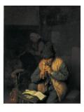 A Flute Player Poster von Adrien Van Ostade