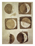 Galileo - Depiction of the Different Phases of the Moon Viewed from the Earth Umění