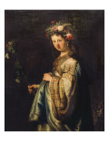 Saskia as Flora Prints by  Rembrandt van Rijn