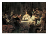Samson Proposing the Riddle at the Wedding Feast Art by  Rembrandt van Rijn