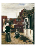 A Woman and Her Maid in a Courtyard Prints by Pieter Cornelisz Hoock