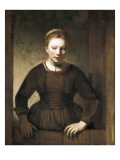 Young Woman at an Open Half-Door Giclée-Druck von Rembrandt van Rijn